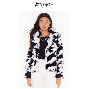 Nasty Gal Cow Print Faux Fur Coat Size Large, NWT